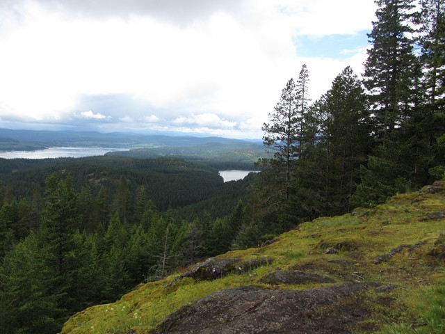 This is looking down from the North Chinese Mountain Trail on Quadra, to Morte Lake on the right and the southern entrance to Seymour Narrows on the left.